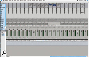 The 'Closer' Mix Window. Although grouping is extensively used, Kevin Davis prefers to use auxiliary sends from the SSL desk rather than within Pro Tools.