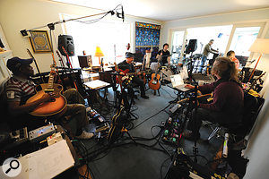 Paul Simon and band in rehearsal for live shows, in the live room at his Connecticut home studio where much of the album was recorded.