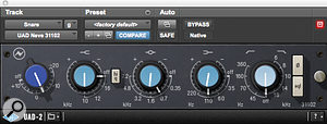 Snare drum EQ came from UA's Neve 31102 emulation.
