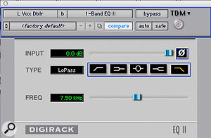 Digidesign's Pitch plug-in was used to create a doubling effect on a send from the lead vocal, which was then EQ'd to keep it in the background.