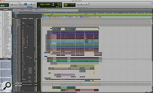 This part of the Pro Tools Session for 'Let It Die' shows all the drum tracks.