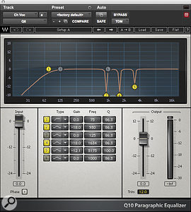 Waves' Q10 EQ notched out several problem frequencies on the chorus vocal. Tom Elmhirst also used two Waves De‑esser plug‑ins to tackle sibilance.