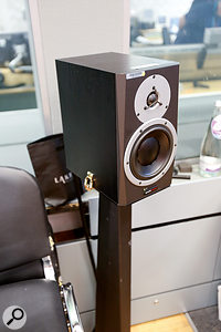 Dynaudio Air monitor loudspeakers are the studio standard in Broadcasting House. Note the added clips securing the speaker to the stand.