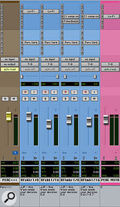 Waves' C1 compressor and Digi's Lo–Fi plug–in were used to add 'grit' to the percussion tracks.