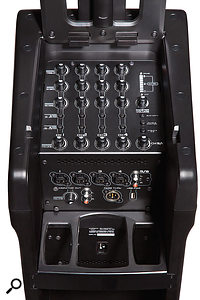 The Eon One Pro improves upon the original with an expanded mixer section. Here, channels 1-4 can accommodate mic or line signals, with channels 3-4 additionally capable of handling passive instruments. A stereo input is also provided, and this can be fed either via two RCA phono sockets, or a Bluetooth stream.