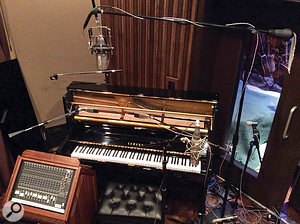 Upright piano was tracked with a  pair of AKG C414s as close mics, and an RCA KU3A unidirectional ribbon for a  roomier sound.