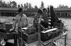 Preparations for a  concert at CCRMA, 1981.