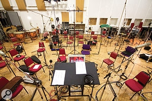 The ensemble setup viewed from Philip Shepherd's podium. The Neumann U67s in the foreground are ensemble mics for the strings, which were split left and right for a fuller sound.