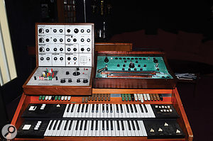Two quirky analogue synths separated by 40 years: Jarre's EMS VCS3 (left) and Dewanatron Swarmatron (right).