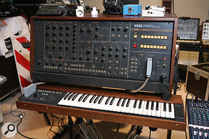 Some of the desirable modular and semi–modular synths used on both the original and the recreated <em>Oxygene</em>. From top left, clockwise: Korg PS3200,  ARP 2500, ARP 2600 (two were used) and Moog modular.
