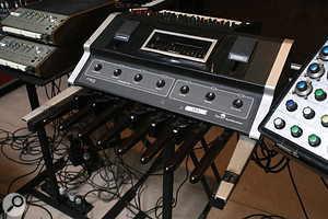A Moog Taurus bass synth, stand–mounted for playing by hand rather than foot!