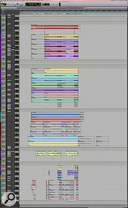 This composite screen capture shows the entire Pro Tools session for 'The Hunter'.