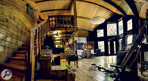 This panoramic photo shows the huge cedar-lined live area at Jonathan Wilson's Fivestar studio.