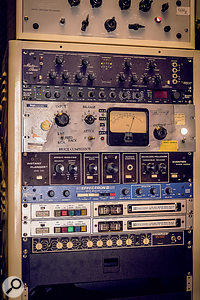 Fivestar features a number of valve processors hand-built by tech Bryce Gonzales, like the Bryce Compressor in the centre of this rack. Also visible are, top to bottom, Pultec EQs from the former United Western Recorders studio, MicMix Audio Master Room MX305 spring reverb, Eventide Princeton Digital Reverb 2016 and Instant Flanger, Delta Lab Effectron II delay, 2x Dolby A encode/decode modules and a Shure SR107 EQ.