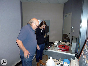 Chris Haseleu and tape-op Alicia Bognanno supervise the transfer of the Gravedigger master tapes at MTSU Studio B.