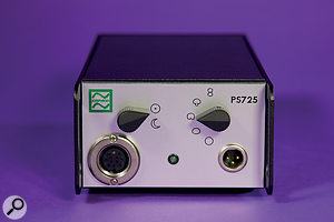 The power supply houses the five-position polar-pattern selector, as well as aunique sun/moon voicing switch.