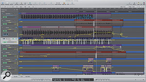 """""""There's automation all over everything,"""" says Jon Hopkins. """"Every track has stuff going on, and Iwill ride the vocal crazy amounts. Alot of effort went into making this record sound effortless, to make it sound like nothing had been done at all."""" This Logic screen, taken from 'Bubble', shows the lead vocal at the top, with automation sending selected notes to astupendously long reverb. The reverb and vocal effects are printed to the next two tracks below, and then copied so that they continue on into the instrumental section after the lead vocal has stopped."""