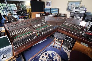 Keith Grant pioneered the concept of the 'wraparound' console. This is the final Olympic Studio 3 desk, built by Raindirk and installed at Olympic in the late '70s. After leaving Olympic, Keith used the desk for many years at Twickenham Film Studios, recording and mixing film scores, its first job being Cry Freedom. Here it is installed in his Sunbury studio, where it was used for overdubs on Pink Floyd's The Division Bell, among many other projects.