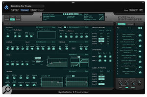 The global effects section has two configurable buses and a single instance of reverb and echo.
