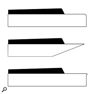 Types of key in profile. From top to bottom: waterfall key, synth or 'diving board' key, and piano or 'lipped' key.