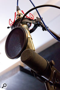 Two mics were used simultaneously while testing: a Shure SM57 moving-coil dynamic and a Neumann U87 multi-pattern capacitor.