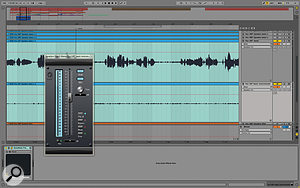 Having recorded a  pass of the instrumental played over the speakers using the vocal mics, we inverted the polarity of that channel to try to eliminate the spill on the vocal track through phase cancellation.