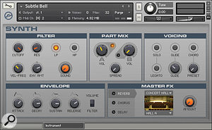 Like most instruments in the Kontakt 4 Factory library, 'Subtle Bell' includes amulti‑tabbed Performance View where parameters for the instrument can be adjusted.