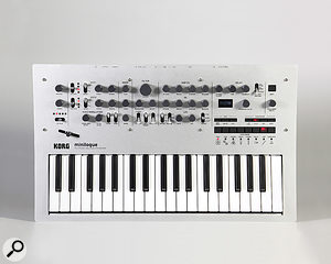The Minilogue's front panel measures 50 by 30 cm.