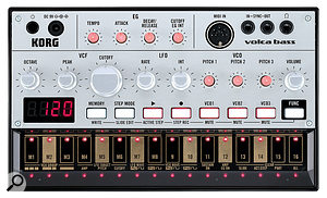 The Volca Bass sporting silver knobs that could almost put one in mind of another compact bass synth.