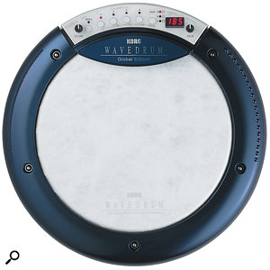 The Wavedrum Global's interface is a simple affair, comprising two knobs, six buttons and an LED display.