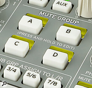 Unusually for an analogue desk of its size, the MW‑2408 features four mute groups.
