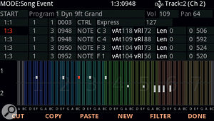 It's a  long way from a  DAW MIDI editor, but the PC4's piano-roll display is at least informative. In the absence of mouse or touchscreen all event editing goes on in the attendant list.