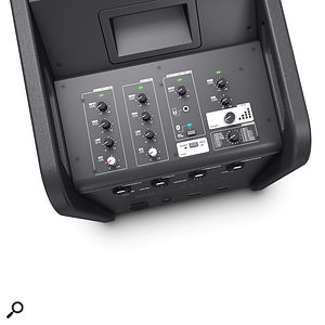 The top panel houses the controls for the built–in four–input mixer.