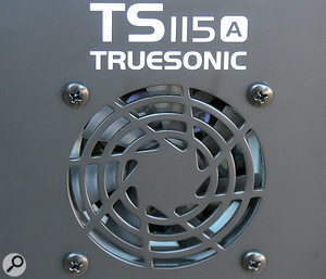 The Truesound 115A's amplifier is fan cooled, which is relatively uncommon. The fans are very quiet, and allow the cabinet to be free from the sharp heat-sink fins that would otherwise be required.
