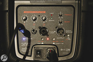 The rear panel hosts the inputs and abasic mixer.  Note the safely recessed push‑button switches for selected controls.
