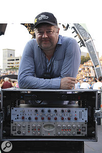 Ian Laughton is pictured here with some of his live gear, including Rupert Neve Designs and Avalon units usually found in the studio.