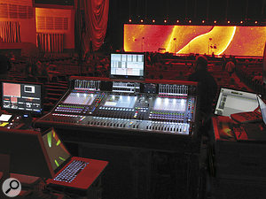 The DigiCo SD7 and multiple ProTools rigs in the front‑of‑house position.