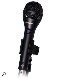 3: The MP75 Modern Performance microphone comes with the VoiceLive Rack. It has a good, clear dynamic tone and features abutton to control a designated function on the Rack.