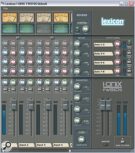 The software mixer utility which controls the FW810S's internal mixer. To the left is a scrolling pane for navigating through the available input and playback channels; in the middle are the control and return parameters for the DSP‑powered monitor reverb; and to the right are the master controls for the five stereo output feeds.
