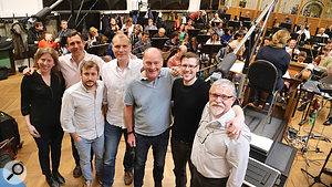 ThinkSpace Postgraduates recording their final projects in Prague with a 75-piece orchestra. Left to right: Sarah Lutz, Simon Horsey, Sergio Llopis Pascual, Bruno Newman, Guy Michelmore (tutor), Tim Johnson (tutor), Stefan Nemeth.