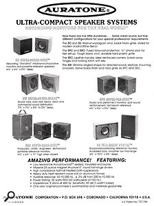 A brochure for the original Auratone range of speakers.