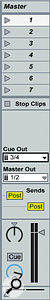 Separate Master and Cue outputs are assigned in the Master track.