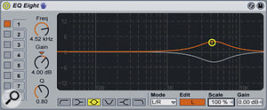 Here we can see EQ8 in L/R Mode. The left channel is being boosted by 4dB at around 4.5kHz while the right channel is cutting at exactly the same frequency. Try adjusting the Scale parameter to change the stereo effect.