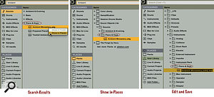 The left panel shows the search results for 'Ambient' in the Sounds category. The middle panel displays the location of the 'Ambient Monastery' Instrument Rack in the Sound Objects Lite Live Pack. Saving an edited version of the Instrument Rack places it in the User Library, in a new folder named to reflect its type in the Sounds category.