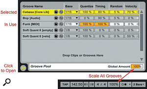 Live's Groove Pool resides at the bottom of the Browser. Grooves not currently being used have their settings greyed out. The Global Amount setting, ranging from zero to 130 percent, scales all parameters for all grooves and is replicated at the top-left of Live's toolbar when at least one groove is in use.