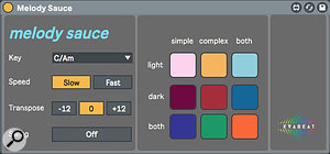 Screen 4: Melody Sauce offers nine algorithms for generating MIDI sequences at the click of a button.
