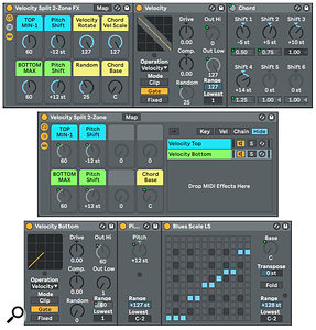 Screen 3: Chord, Pitch and Scale effects added to a  velocity-split Rack.