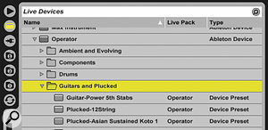 Folders of library presets for Live's Operator synthesizer.