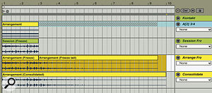 These five tracks illustrate the Freeze process for Session and Arrangement view clips. The top track holds the virtual instrument (Kontakt in this instance). The second track holds aLive External Instrument plug‑in linked to the Kontakt instrument, receiving MIDI on port A[2] and returning its audio on stereo output 3/4. The track holds afrozen two‑bar MIDI clip, and the shaded region beyond the clip indicates the tail. The bottom three tracks show the audio results of freezing: from Session view (tail not captured), from Arrangement view (tail captured as aseparate clip), and consolidated from Arrangement view (full selected length and converted to the project's bit depth).