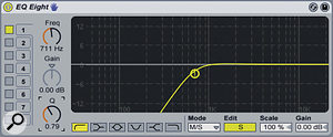 Here we can see EQ8 filtering out all frequencies below 700Hz in the Sides signal.
